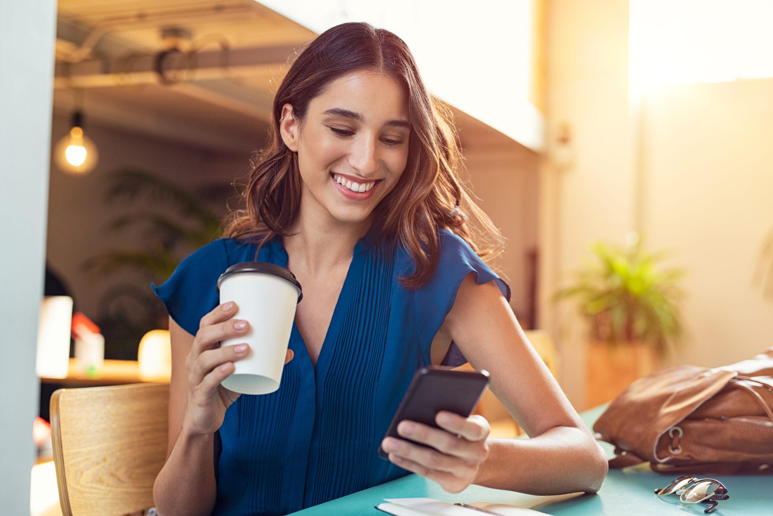 Happy female digital banking