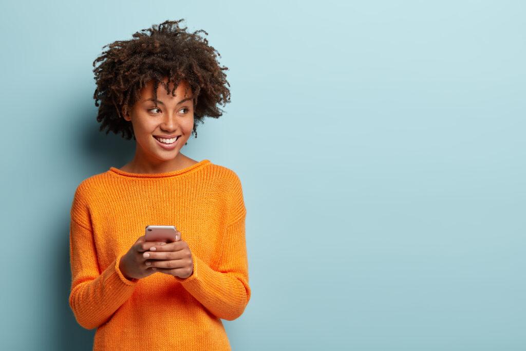 Happy female with phone
